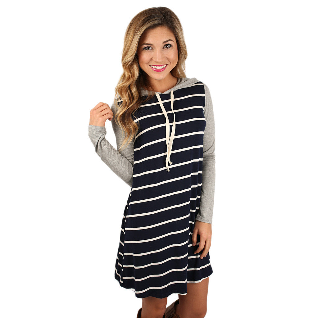French Like Hoodie Dress in Navy
