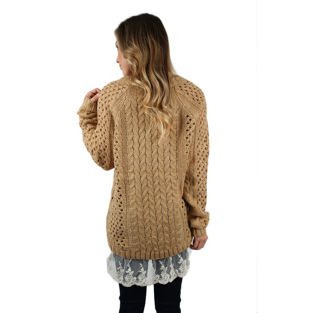 Charming In Lace Sweater in Honey