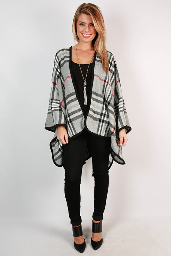 Plaid Obsession Poncho in Grey