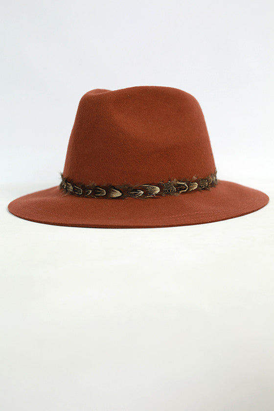Fashion Week Feather Hat in Rust