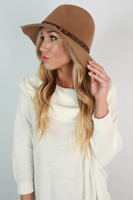 Fashion Week Feather Hat in Tan