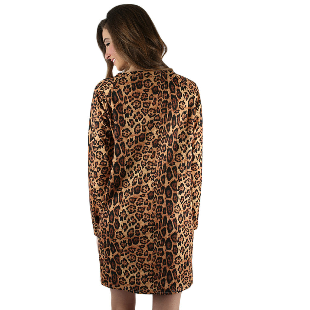 Feeling Dramatic Sweater Dress Leopard