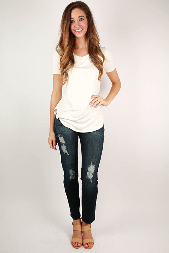 Midrise Distressed Dark Denim