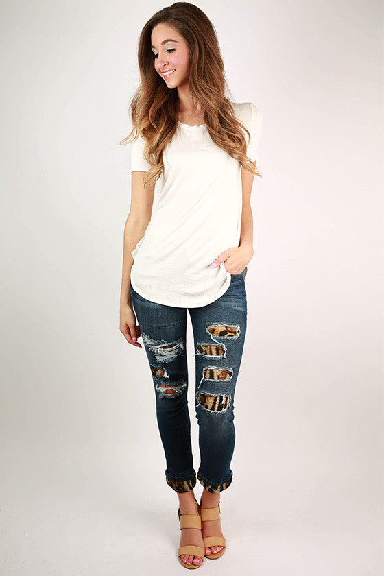 After School Leopard Distressed Denim