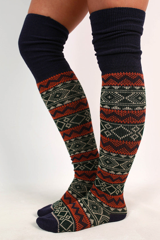 Cabin Bound Sweater Sock in Navy