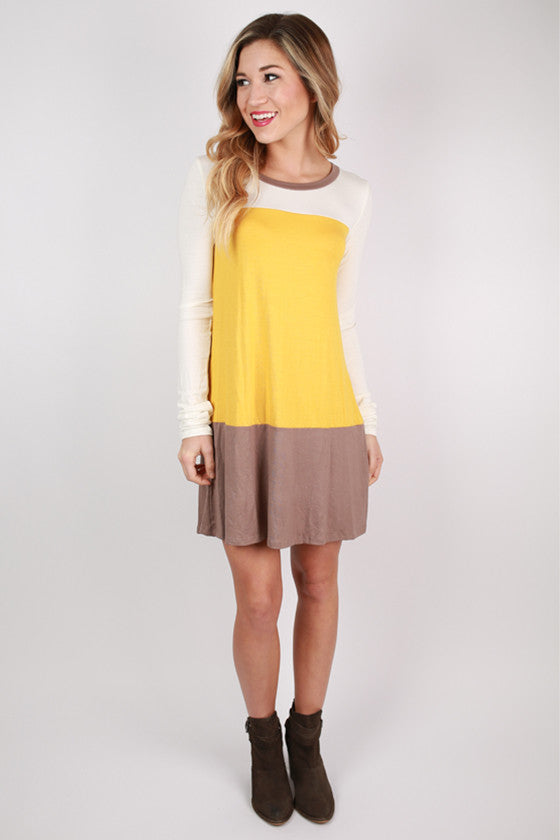 Striped Easy Shift Dress in Marigold