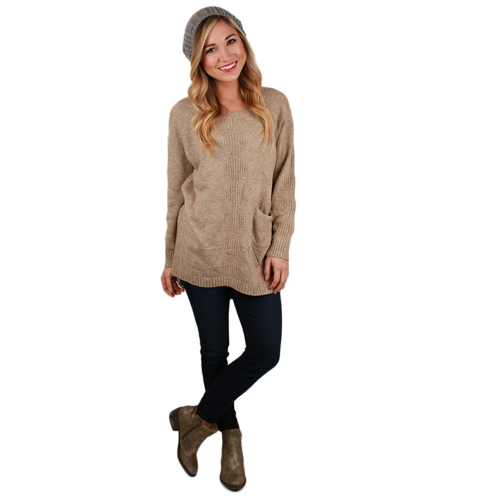 Pep In My Step Tunic Sweater in Khaki