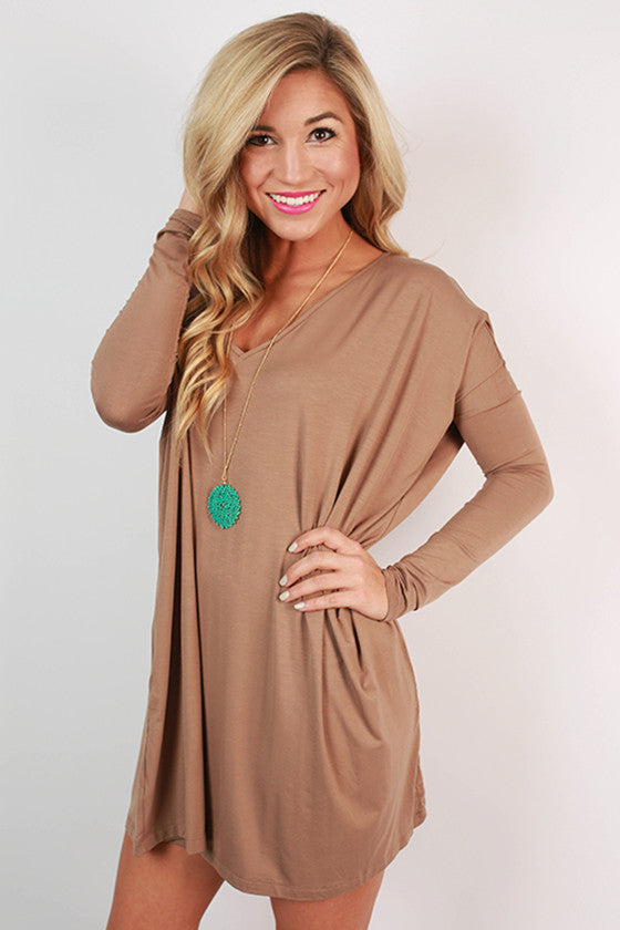 PIKO V-Neck Tunic in Light Brown