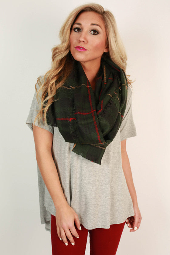 Cozy Love Blanket Scarf in Green