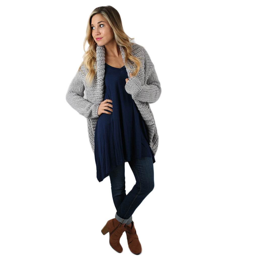 Cozy Cuddles Cardigan in Grey
