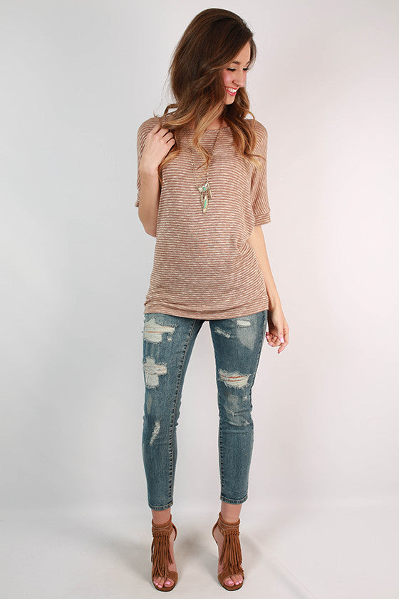 Stripes & Sunshine Top in Taupe