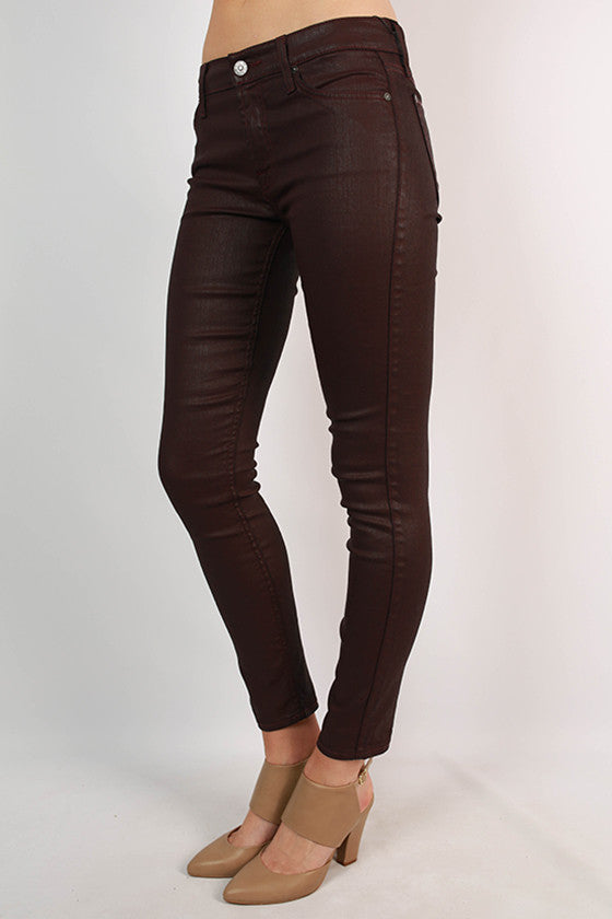 Midrise Ankle Skinny in Burgundy Leather