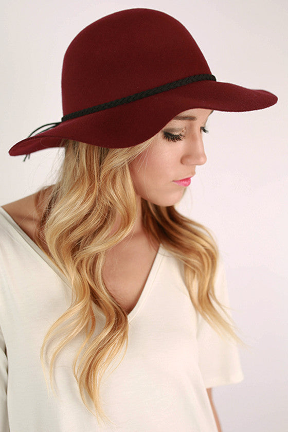 After The Runway Hat in Maroon