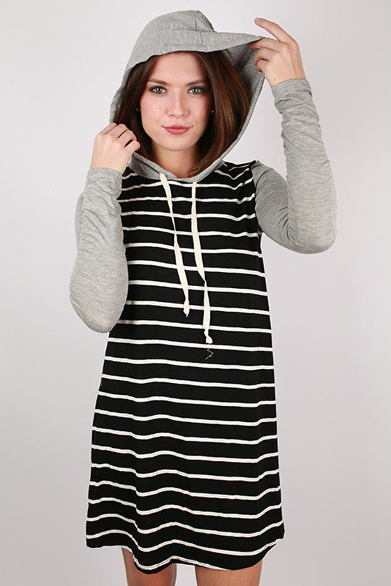 French Like Hoodie Dress in Black