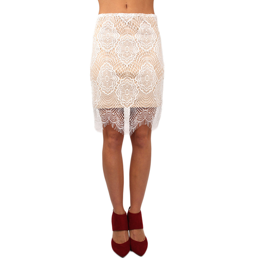 Lace & Love Skirt in White