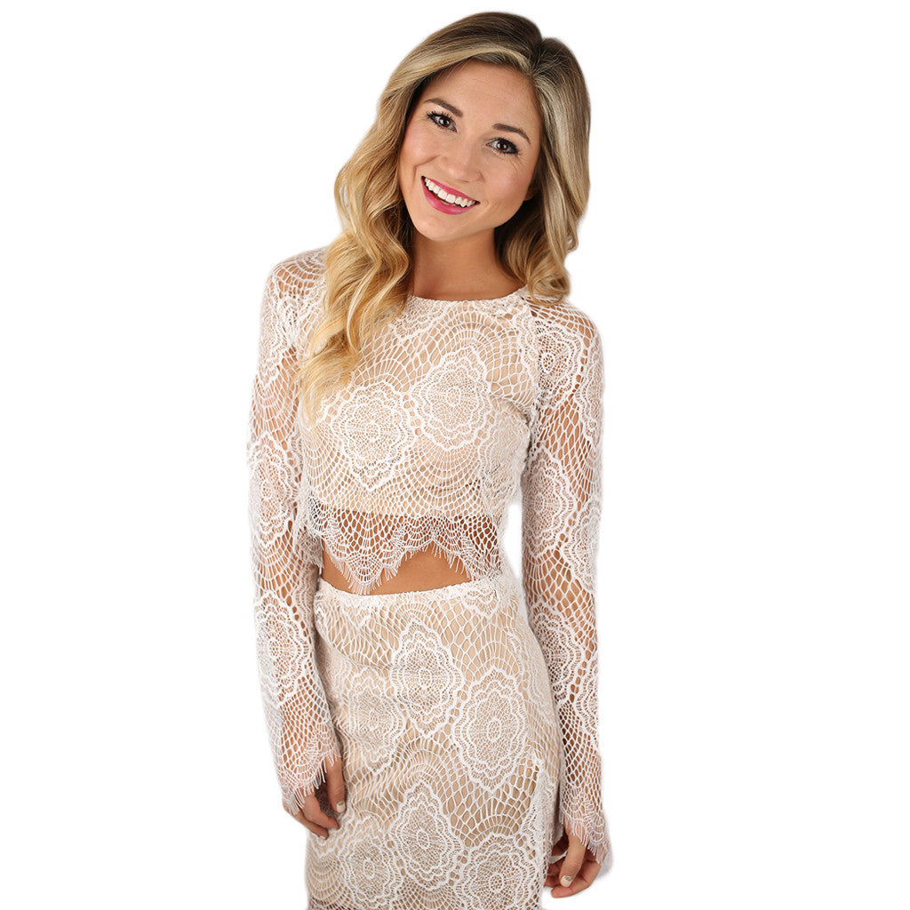 Lace & Love Crop Top in White