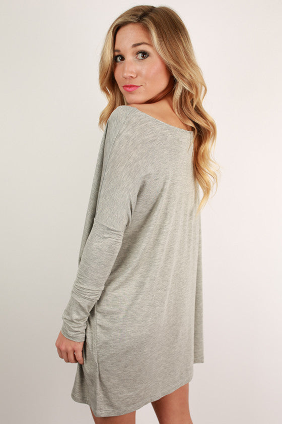 At First Crush Tunic in Heather Grey