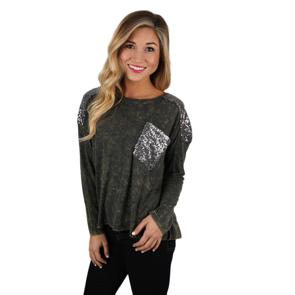 Watch Me While I Sparkle Tee in Army Green
