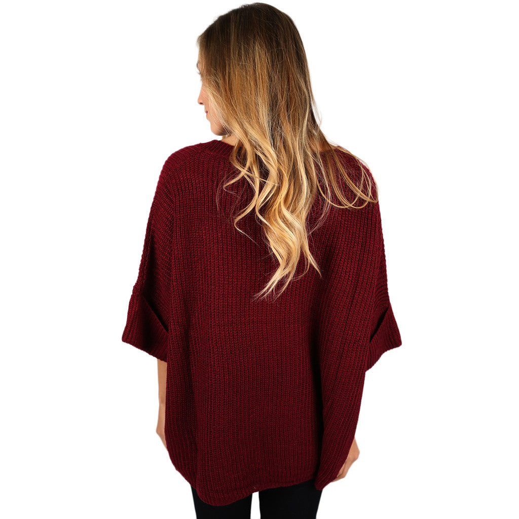 Autumn Love Knitted Top in Wine