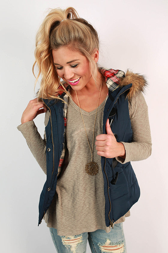 She's Super Chic Faux Fur Vest in Navy