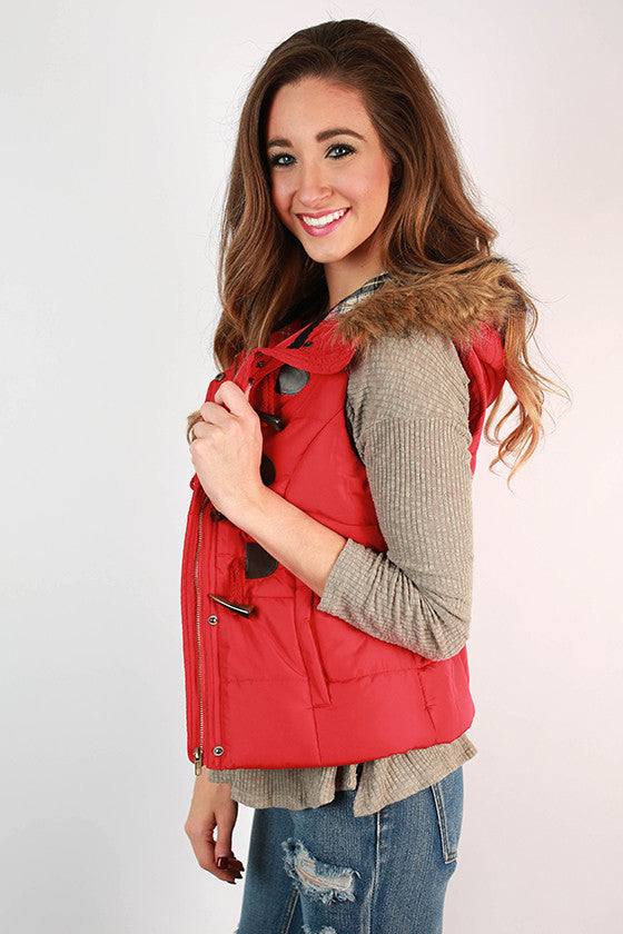 She's Super Chic Faux Fur Vest in Red