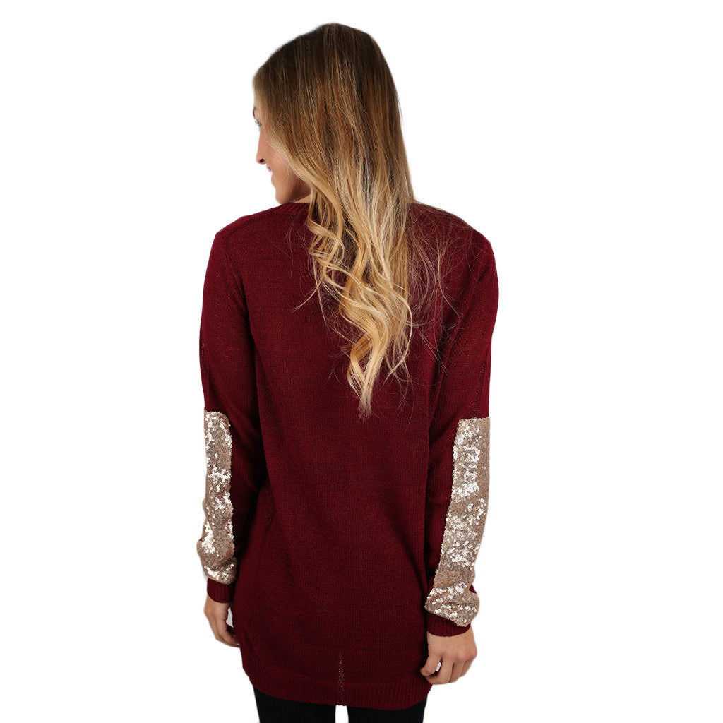 Keep Sparkling, Darling Sweater Burgundy