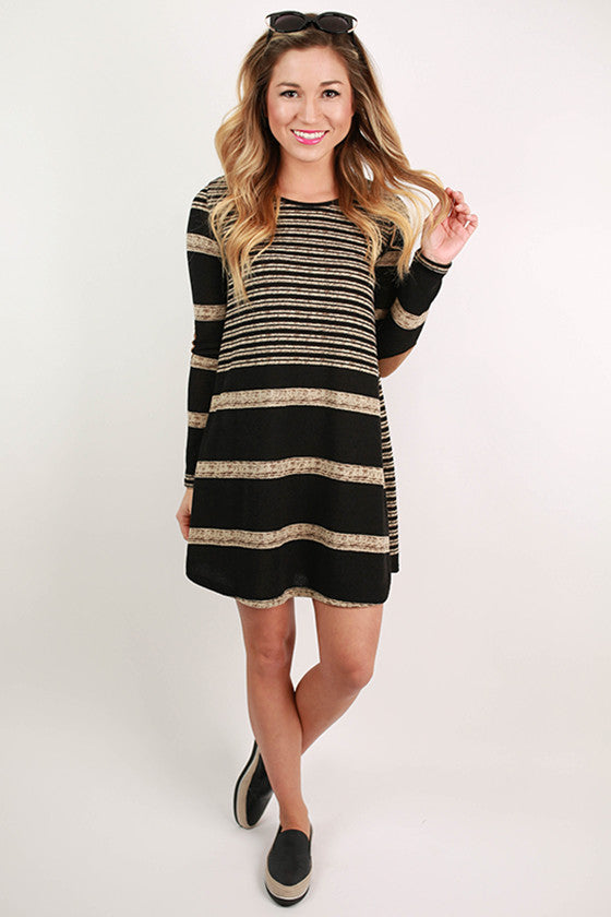 Striped Ambition Tunic In Black