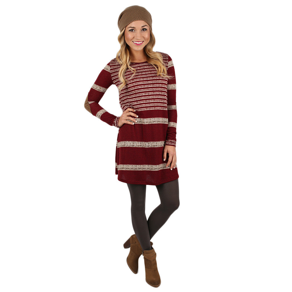 Striped Ambition Tunic In Wine