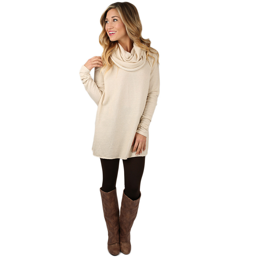 Sight Seeing French Terry Tunic in Cream