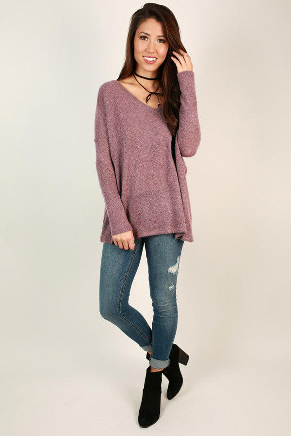 Piko V-Neck Sweater in Dusty Purple