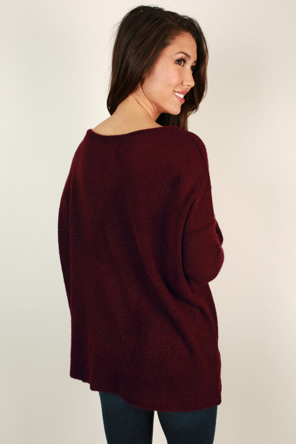 Piko V-Neck Sweater in Wine