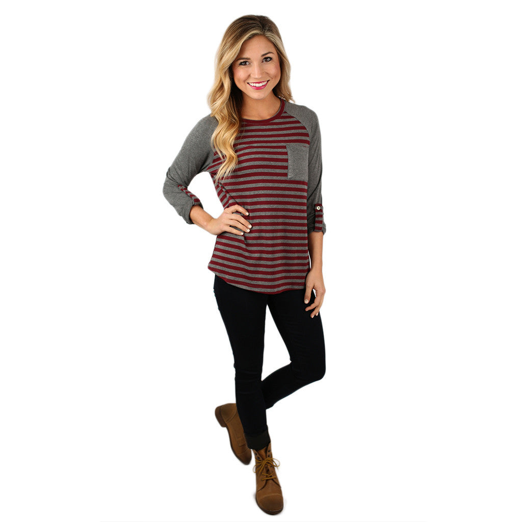 Serenity in Stripes Top in Burgundy