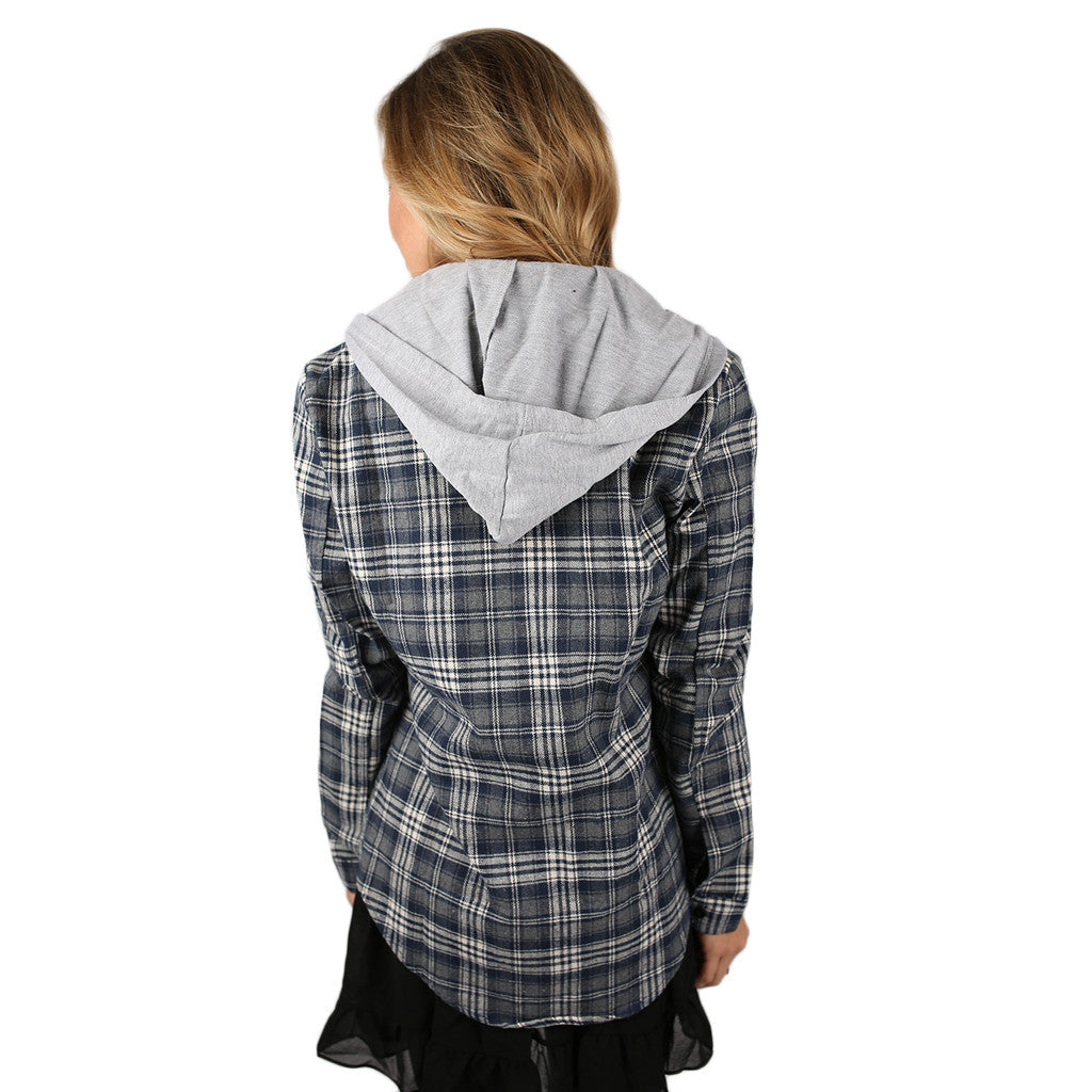 Cozy Days Flannel Hoodie in Navy