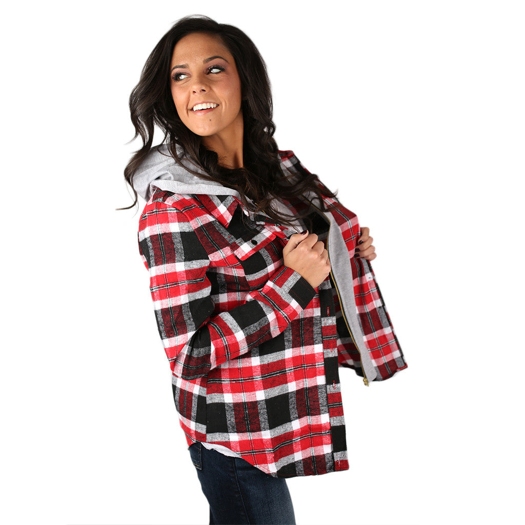 Cozy Days Flannel Hoodie in Black