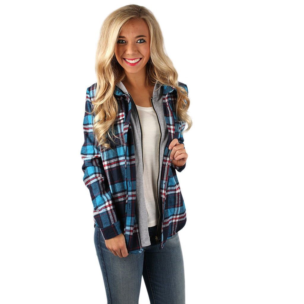 Cozy Days Flannel Hoodie in Blue