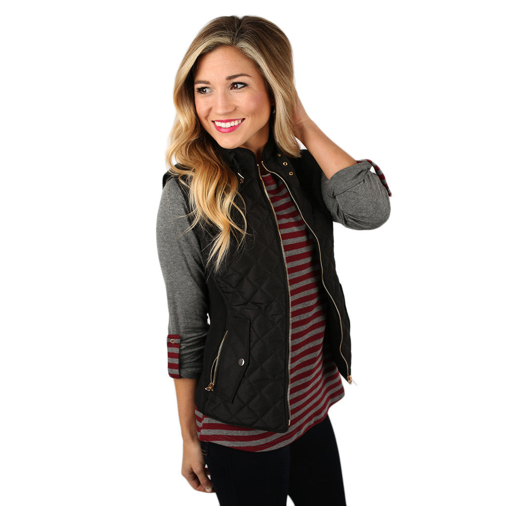 Call Me Beautiful Quilted Vest Black