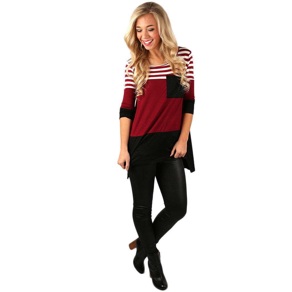 Girl's Best Friend Tunic in Burgundy
