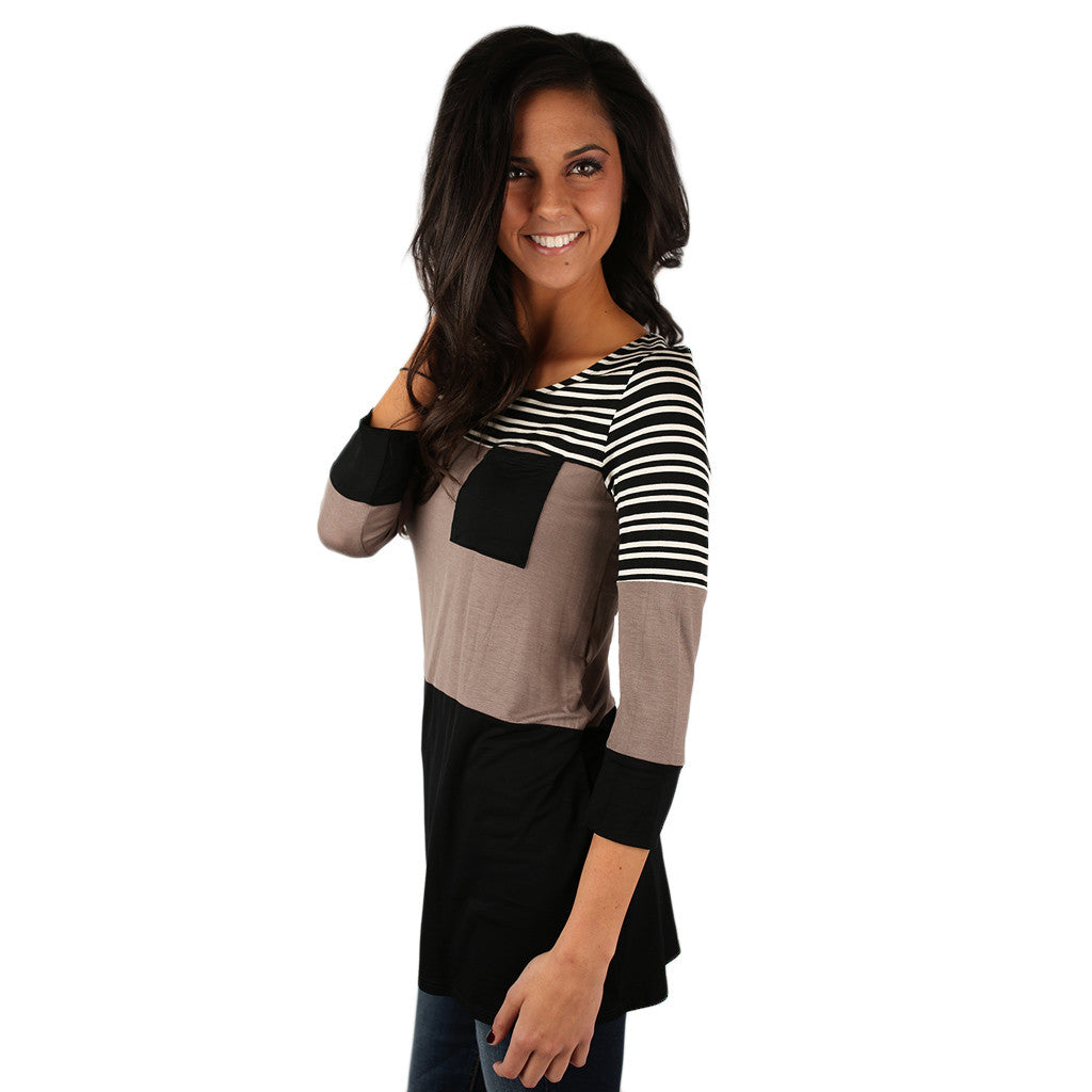 Girl's Best Friend Thin Stripe Tunic in Mocha