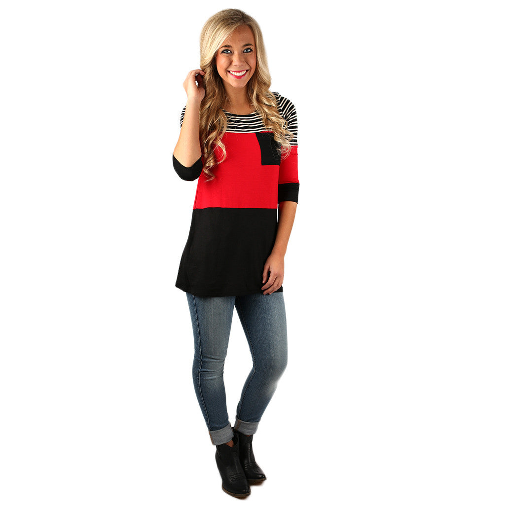 Girl's Best Friend Thin Stripe Tunic in Red