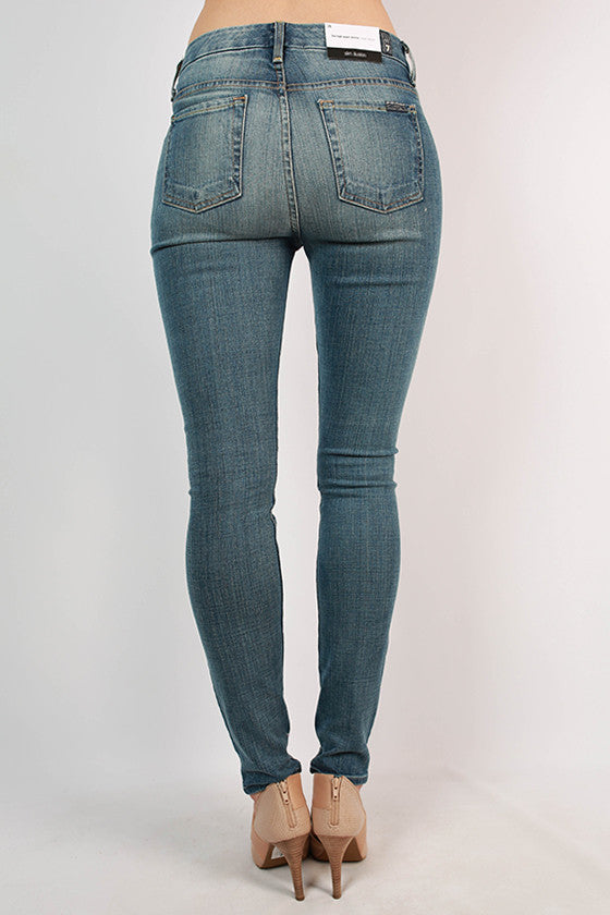 High Waist Skinny in Dusty Blue