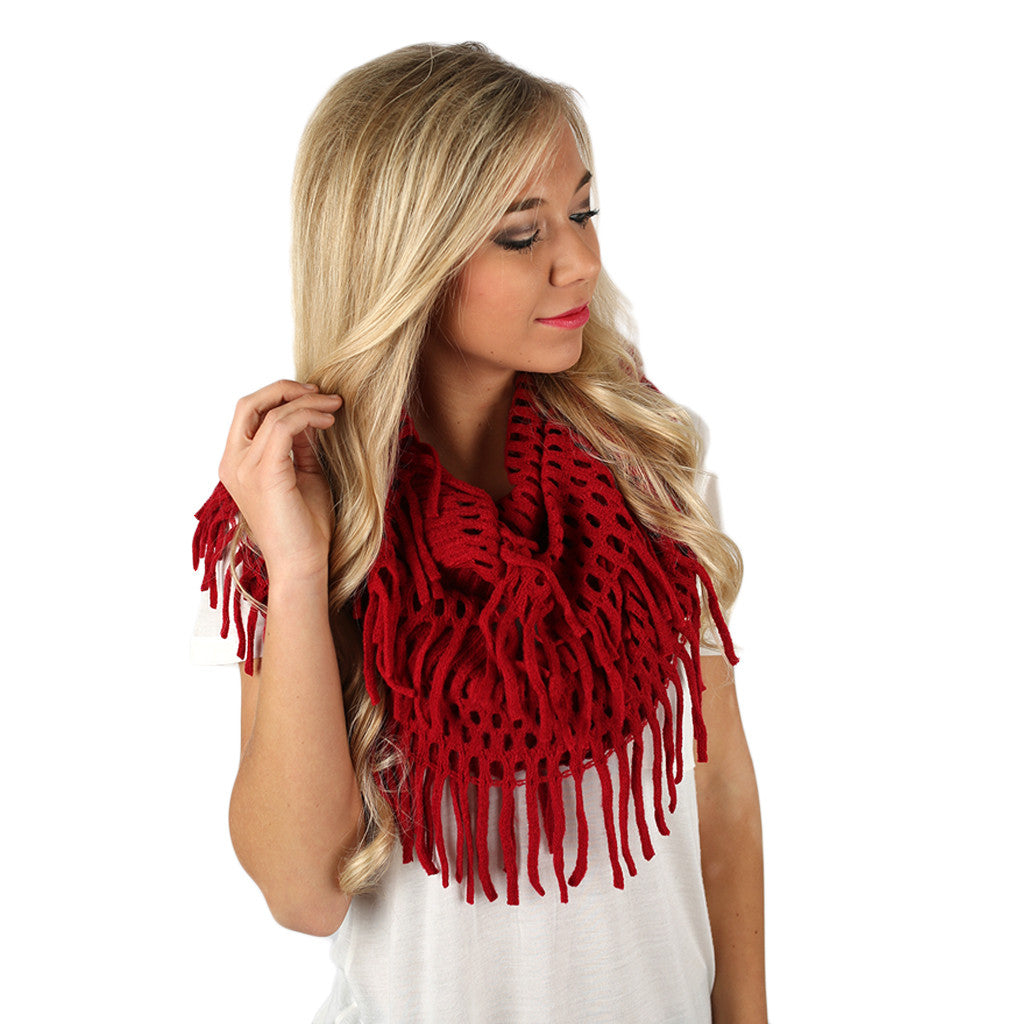 Fringe & Cozy Infinity Scarf in Red