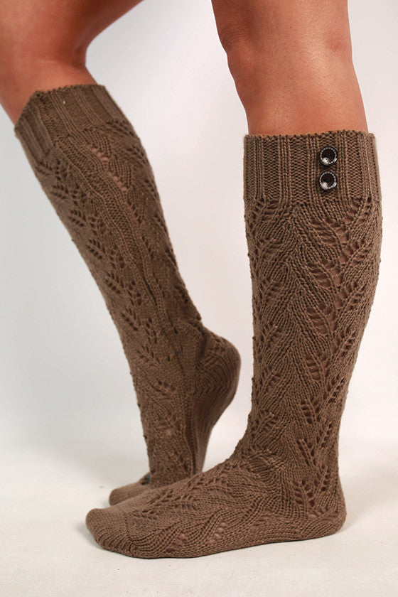 Cozy Season Sweater Sock in Mocha