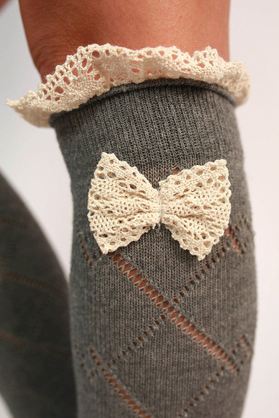 Bows & Cuddles Sweater Sock in Grey