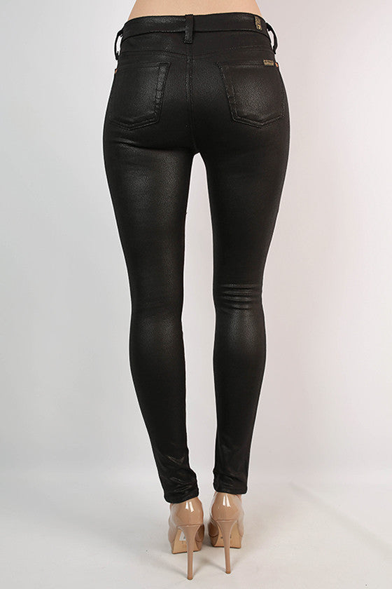 The Skinny Faux Leather Pant in Black
