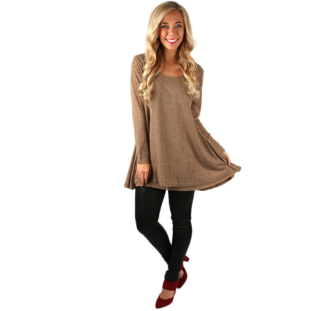 Full Circle Tunic Sweater in Mocha