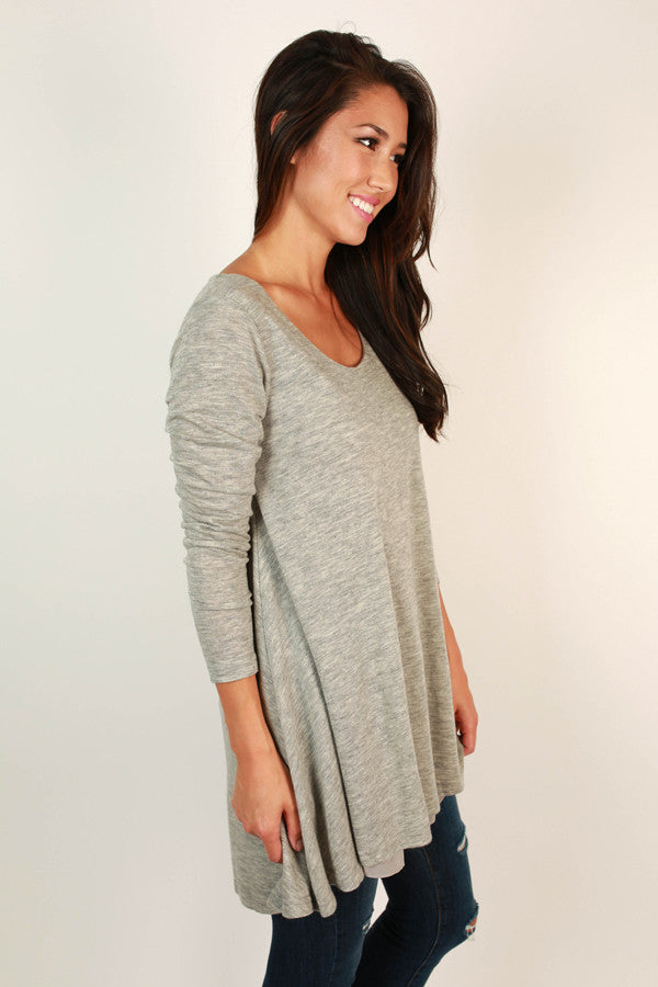 Full Circle Tunic Sweater in Grey
