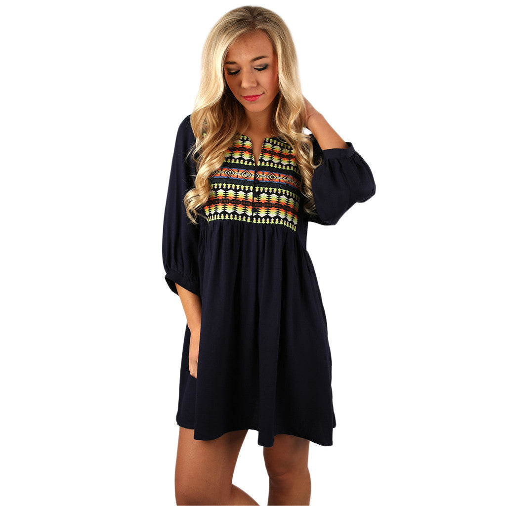 I'll Be Your Babydoll Dress in Navy
