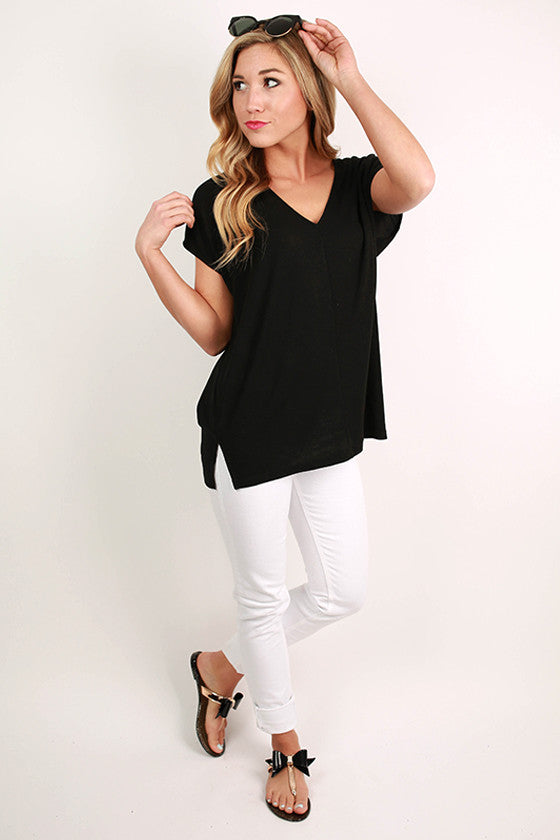 Faithfully Fabulous V-Tee in Black