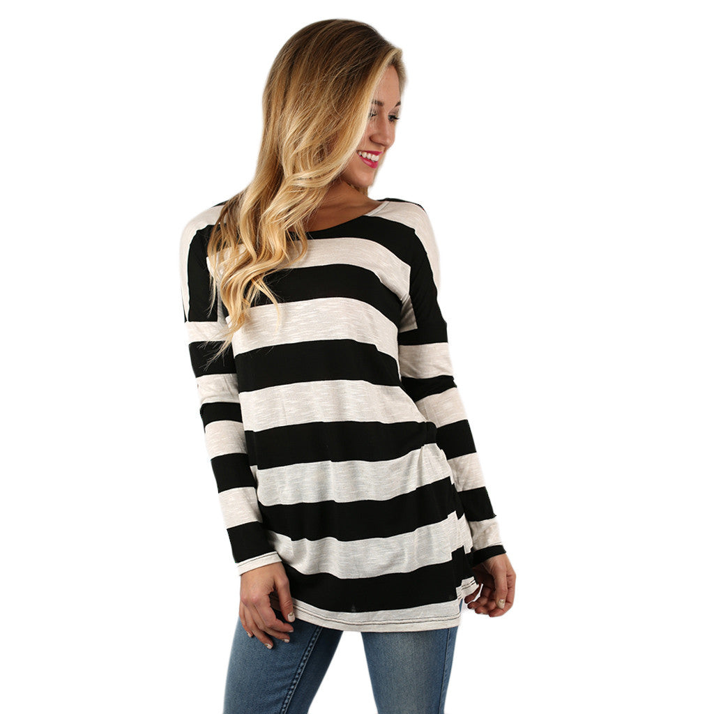Stripes on Point Tunic in Black
