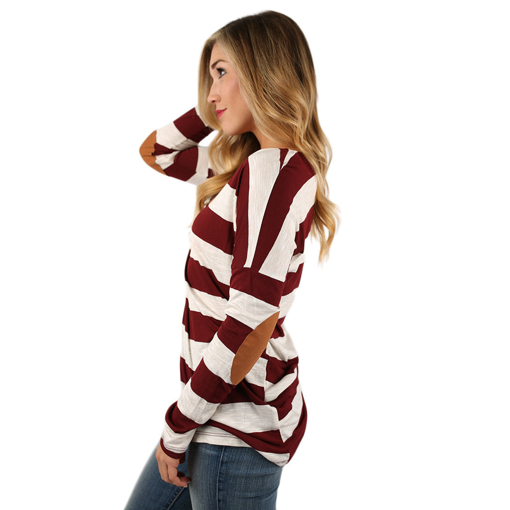 Stripes on Point Tunic in Burgundy